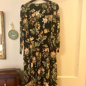 NWT H&M Floral Hummingbird Midi Wrap Dress 18